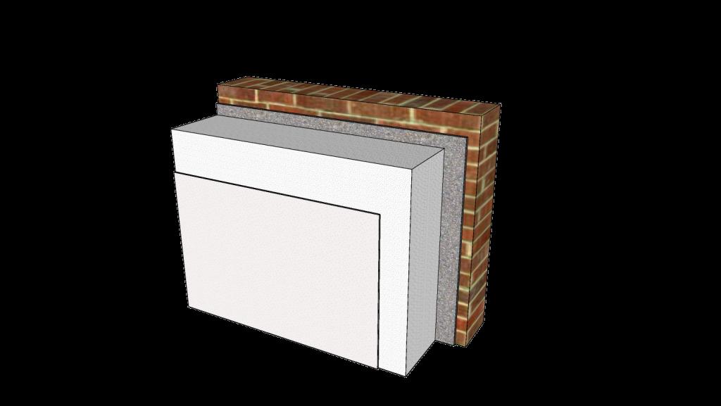 buitengevel-isolatie: een pakket isolatie met pleisterafwerking op de buitenkant van een steensemuur