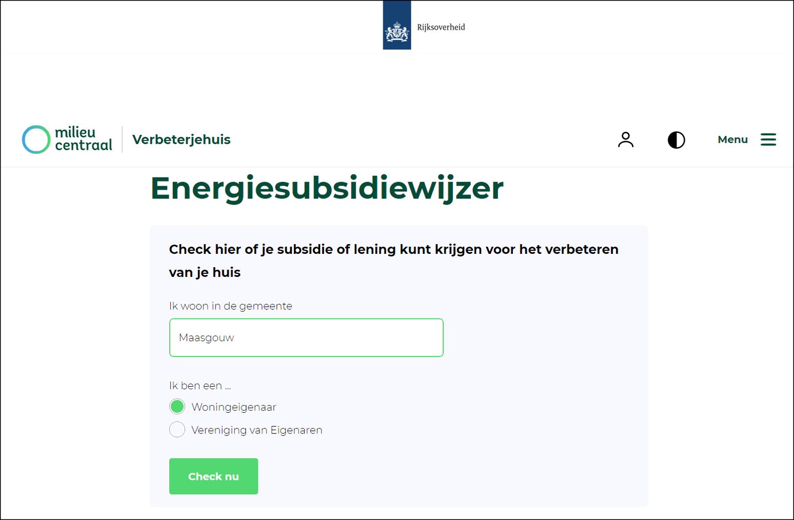 afbeelding website Milieu Centraal: Verbeterjehuis